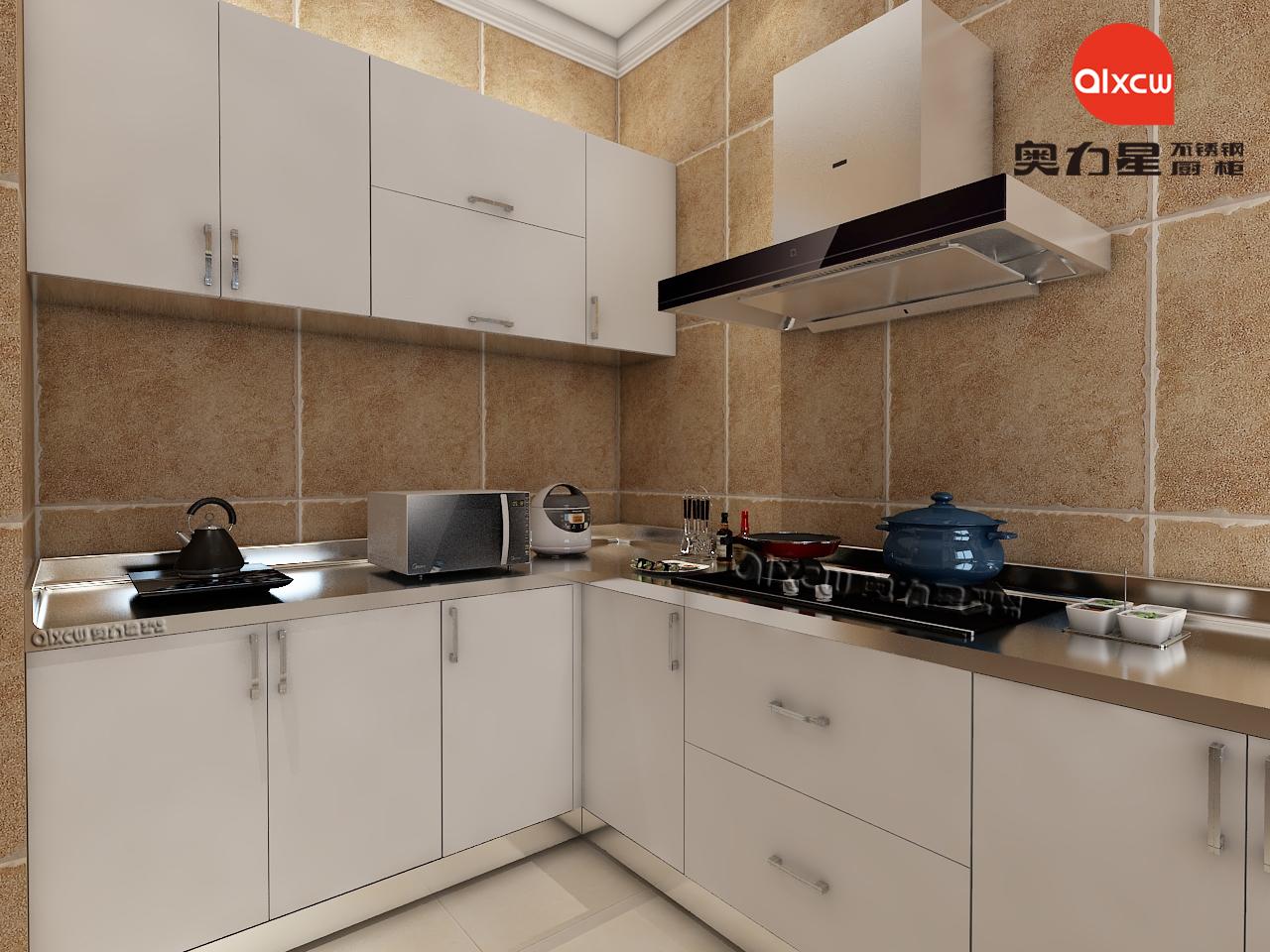 白色厨房橱柜不锈钢