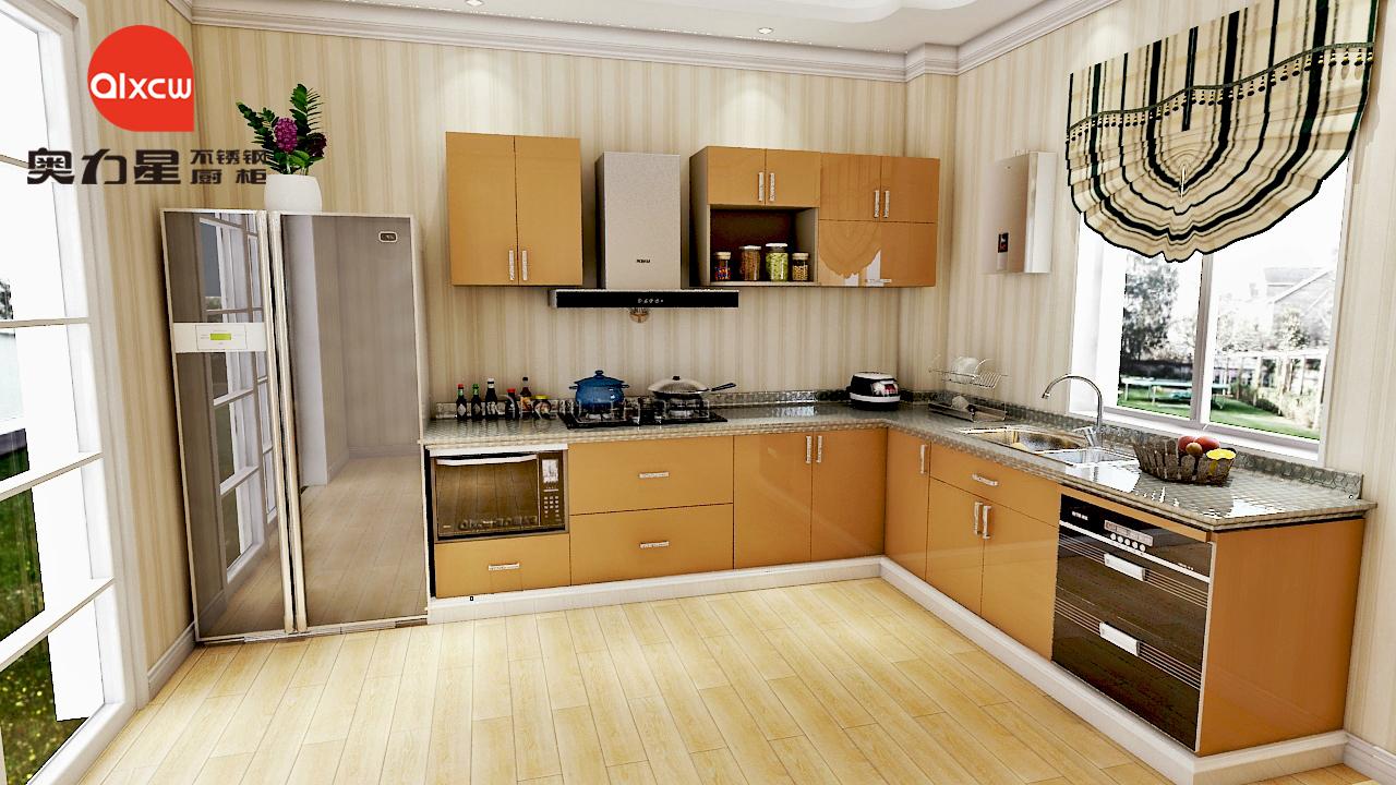 L型厨房不锈钢橱柜