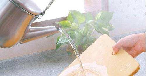 热水清洗砧板