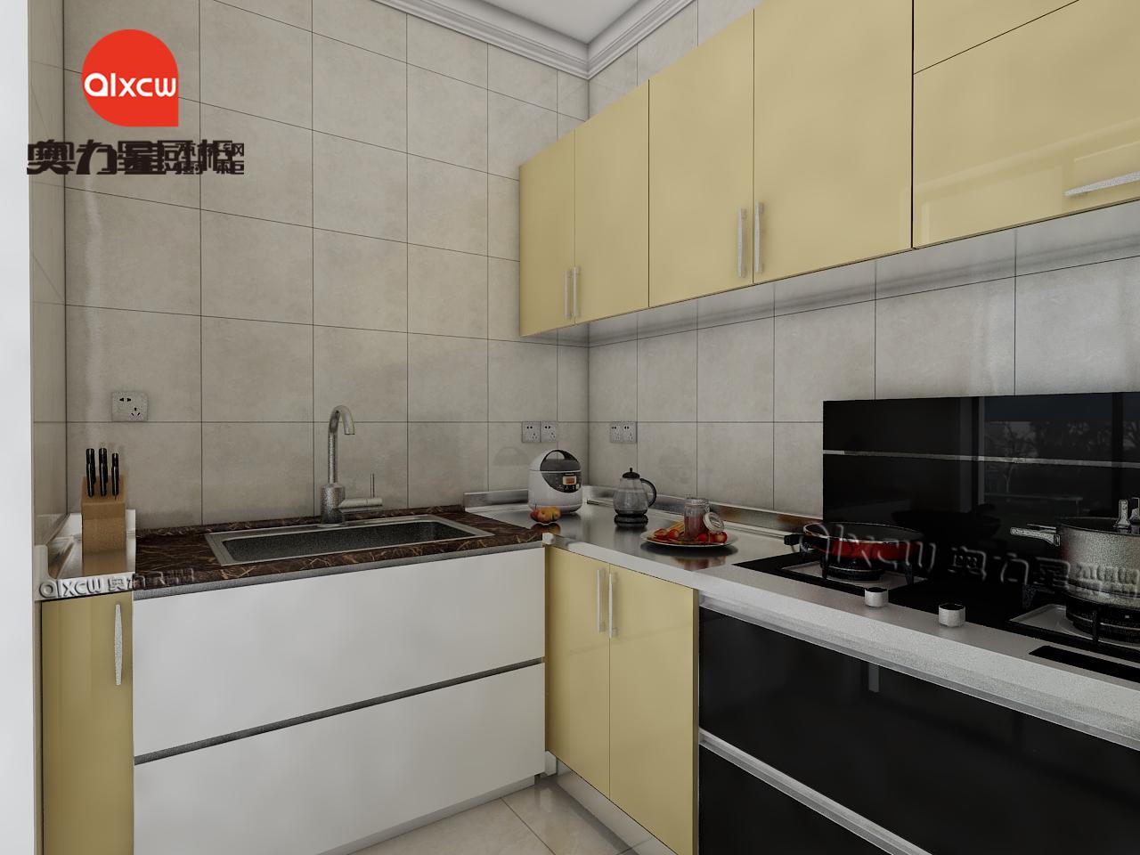 厨房u字型橱柜效果图