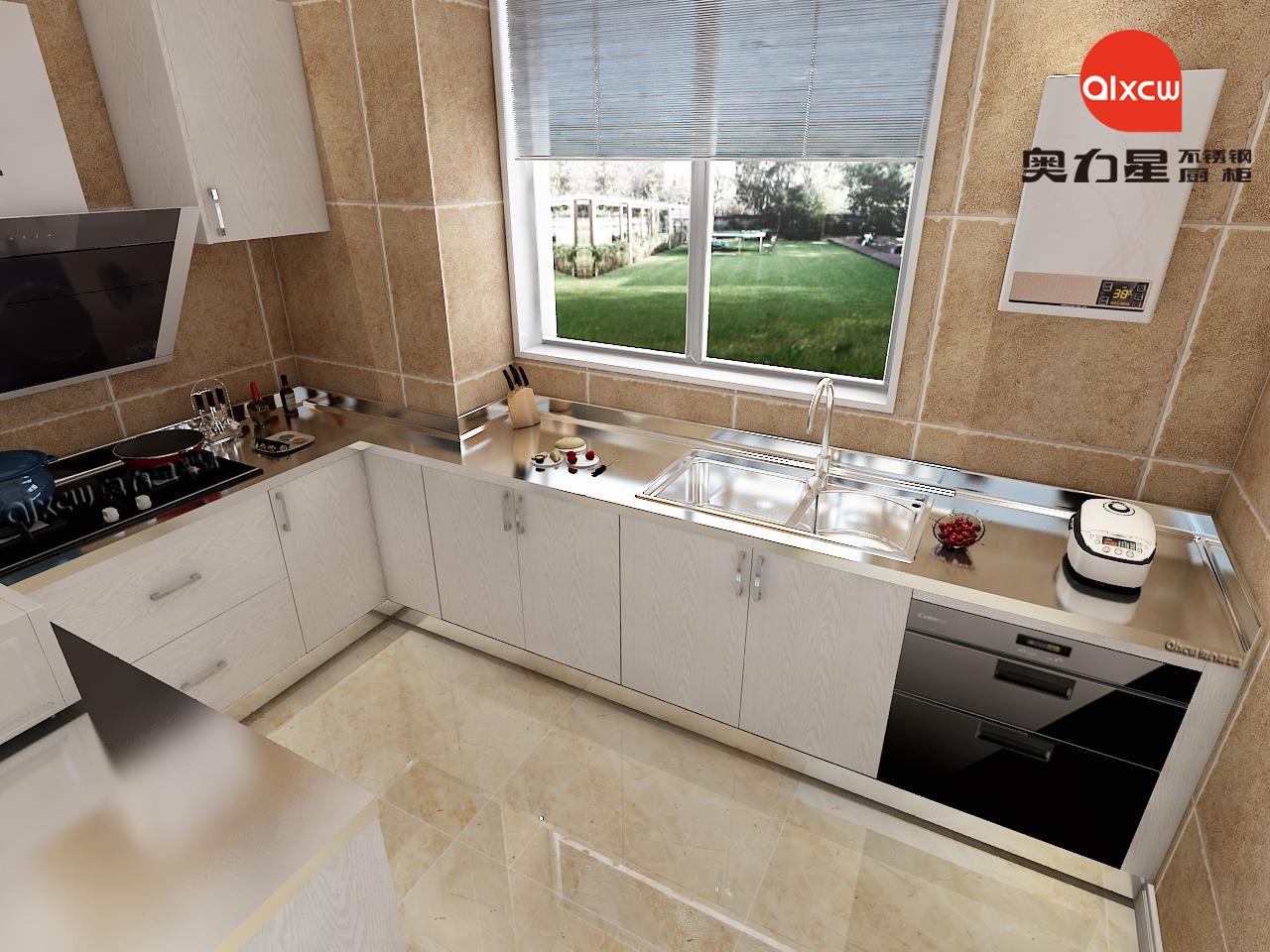 厨房L型橱柜效果图
