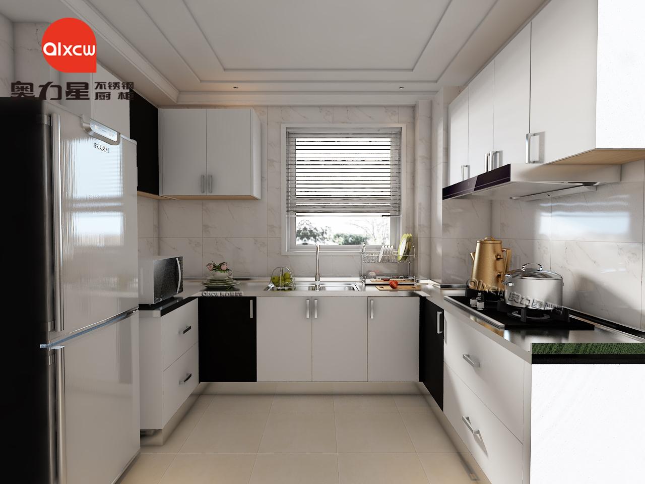 厨房不锈钢橱柜U型效果图
