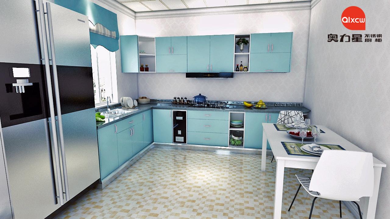 厨房橱柜效果图L型