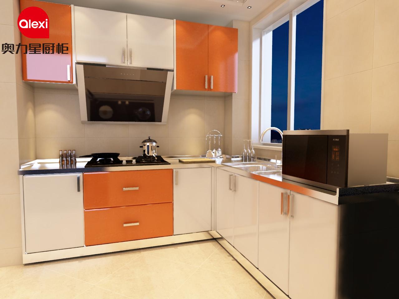 奥力星橙色不锈钢橱柜