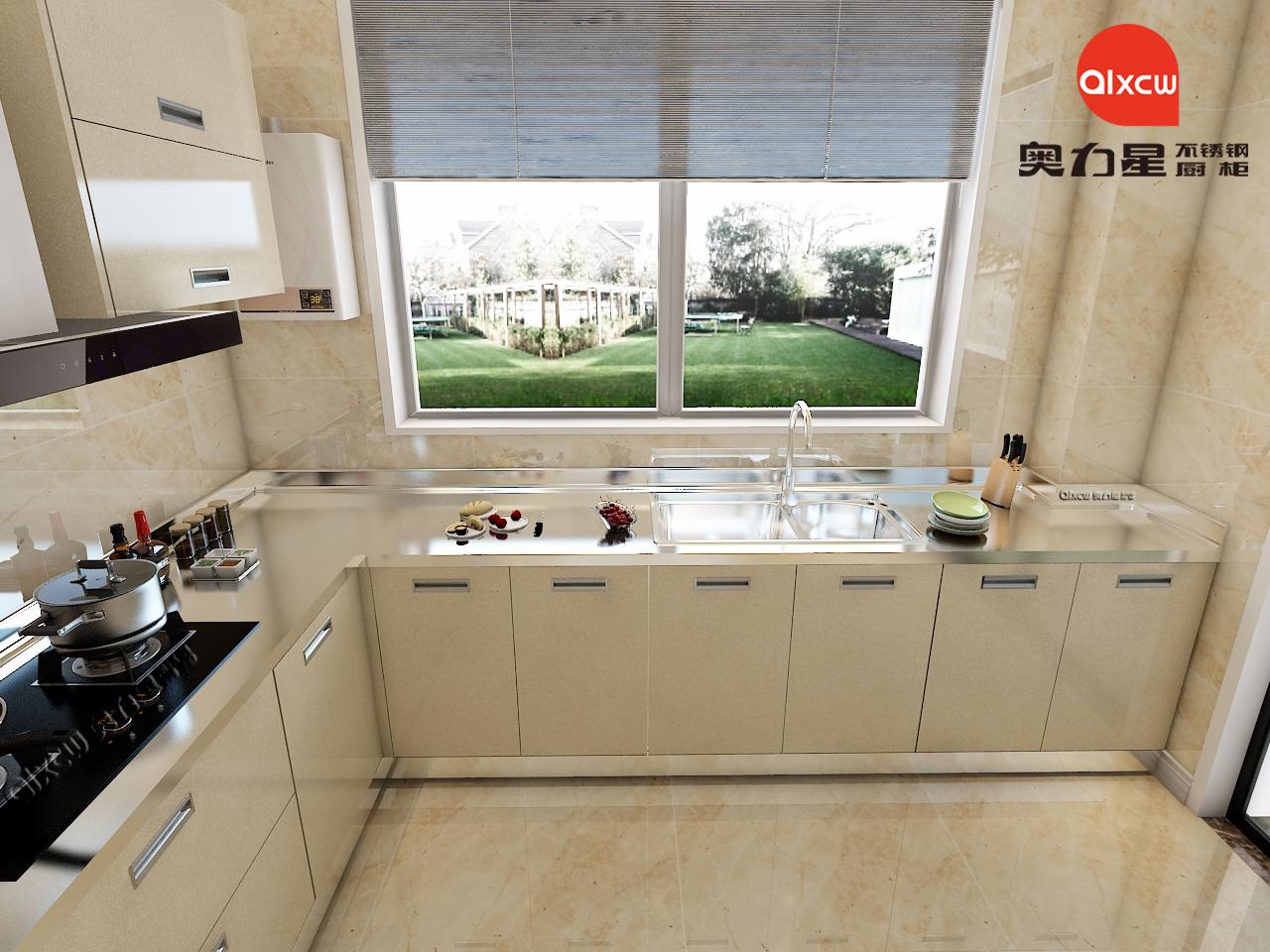 厨房橱柜不锈钢L型