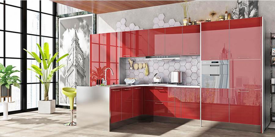 红色火焰不锈钢橱柜